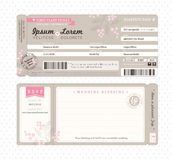 Boarding Pass Wedding Invitation Template vector illustration