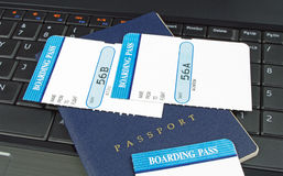 Boarding passes and passport Stock Photos