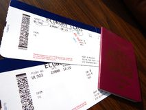 Boarding passes and passport. Travel documentation (boarding passes and passport Royalty Free Stock Photo