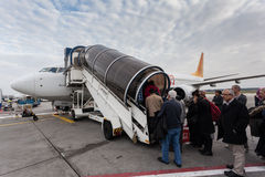 Boarding Pegasus airline airplane Stock Photography
