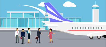 Boarding the Plane Flat Design Stock Photography