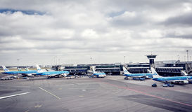 Boarding planes at Schiphol airport Royalty Free Stock Image