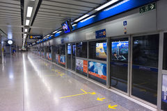 Boarding platforms of Bangkok's MRT rail system are completely s Royalty Free Stock Images