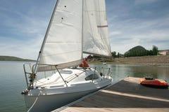 Boarding pontoons of Alange Reservoir, Spain Royalty Free Stock Image