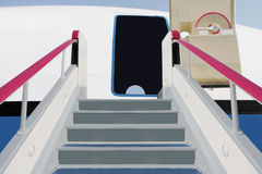 Boarding ramp. The image of a boarding ramp near the airplane Stock Photo
