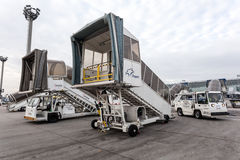 Boarding ramps at the Frankfurt Airport Royalty Free Stock Photos