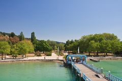 Before boarding the ship. Klagenfurt resort jetty. Austria Stock Images