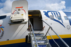 Boarding stairs to Ryanair aircraft Stock Images