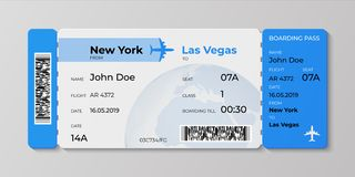 Boarding ticket. Airplane flight pass mockup, plane travel invitation card. Vector realistic concept of ticket for stock illustration