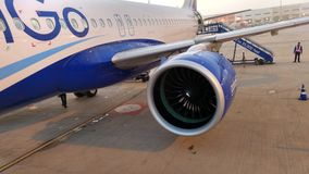 Boarding to Indigo Airlines. Superb A320 Engine Stock Image