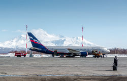 Boarding to the plane. KAMCHATKA, RUSSIA-MARCH 18, 2014: Boarding to the plane, flights from Petropavlovsk-Kamchatsky to Moscow . Aeroflot – Russian stock images