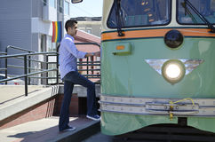 Boarding a tram car Royalty Free Stock Photo