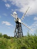 Boardmans Drainage Mill, Norfolk Broads. With local flora and on bright day Stock Images