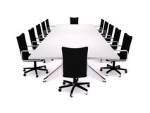 Boardroom. 3D rendering of a conference table and office chairs Stock Images