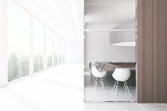 Boardroom with blank panel. New boardroom with blank wooden panel and city view. Mock up, 3D Renderinf Royalty Free Stock Photos