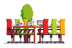 Boardroom or conference hall with big table. Modern boardroom interior design with big table, chairs and laptop computer. Conference hall or meeting room Stock Images