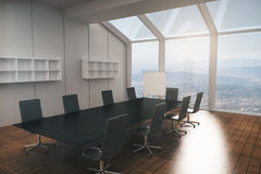 Boardroom interior. With furniture, wooden floor, concrete walls and panoramic window with city view. 3D Rendering Stock Images
