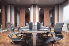 Boardroom interior. Side view of luxurious boardroom with furniture and equipment. Negotiations concept. 3D Rendering Royalty Free Stock Photos