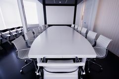 Boardroom at the meeting room. Overview of a modern meeting room Royalty Free Stock Photo