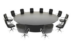 Boardroom, meeting room and conference table and chairs. Business concept. Isolate 3d rendering. Boardroom, meeting room and conference table and chairs Stock Photos