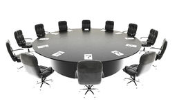Boardroom, meeting room and conference table and chairs. Business concept. Isolate 3d rendering. Boardroom, meeting room and conference table and chairs Royalty Free Stock Photography