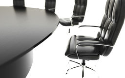 Boardroom, meeting room and conference table and chairs. Business concept. Isolate 3d rendering. Boardroom, meeting room and conference table and chairs Royalty Free Stock Images
