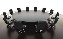 Boardroom, meeting room and conference table and chairs. Business concept. Isolate 3d rendering. Boardroom, meeting room and conference table and chairs Royalty Free Stock Photo