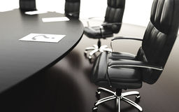 Boardroom, meeting room and conference table and chairs. Business concept. Isolate 3d rendering. Boardroom, meeting room and conference table and chairs Royalty Free Stock Image