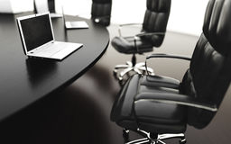 Boardroom, meeting room and conference table with notebooks. Business concept. Isolate 3d rendering. Stock Photos