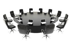 Boardroom, meeting room and conference table with notebooks. Business concept. Isolate 3d rendering. Stock Images