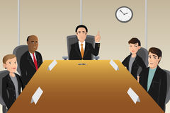 Boardroom members. Cartoon illustration of boardroom members Stock Image