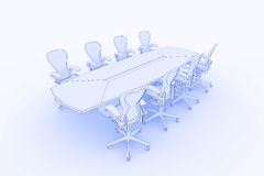 Boardroom table. Illustration fo a boardroom, or meeting table in a blueprint/sketch style Stock Image