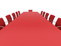 Boardroom table. Isolated red boardroom table. 3d  rendered image Royalty Free Stock Photography
