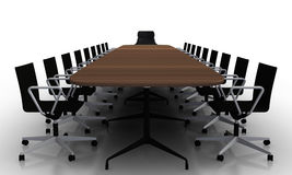 Boardroom table and chairs. Large boardroom table with chairs Stock Image