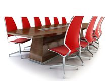 Boardroom with table and chairs. 3d rendering on white background Royalty Free Stock Photo
