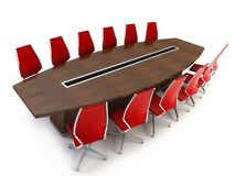 Boardroom with table and chairs. 3d rendering on white background Stock Images
