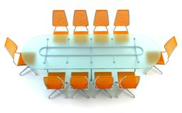 Boardroom with table and chairs. 3d rendering on white background Royalty Free Stock Images