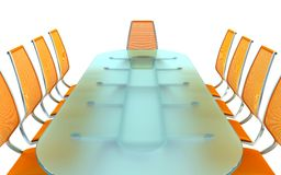 Boardroom with table and chairs. 3d rendering on white background Royalty Free Stock Photos