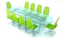 Boardroom with table and chairs. 3d rendering on white background Stock Photography