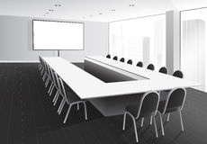 Boardroom. Vector illustration of boardroom with table and chairs, white screen and window with city view Stock Image