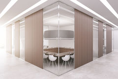 Boardroom with wooden panels. New boardroom with several blank wooden panels and daylight. Mock up, 3D Renderinf Royalty Free Stock Image