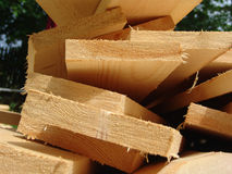 Boards 4. Wooden boards laying on grass on a construction site Royalty Free Stock Photography