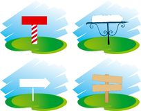 Boards. 4 different boards at the green grass stock illustration