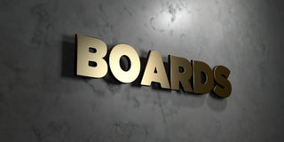 Boards - Gold sign mounted on glossy marble wall - 3D rendered royalty free stock illustration. This image can be used for an online website banner ad or a royalty free illustration