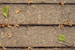 Boards with leaves Royalty Free Stock Images