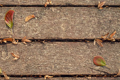 Boards with leaves Royalty Free Stock Image