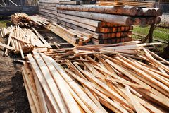 Boards and logs in a sawmill Royalty Free Stock Photography