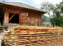 Boards Near A Venetian Sawmill In Molveno, Italy Royalty Free Stock Images
