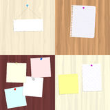 Boards and notes. Four variations of wooden boards with attached notes for use as copy space Stock Photos