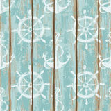 Boards of ship deck seamless pattern. Old boards of ship deck seamless pattern painted by anchors and wheels print Stock Images